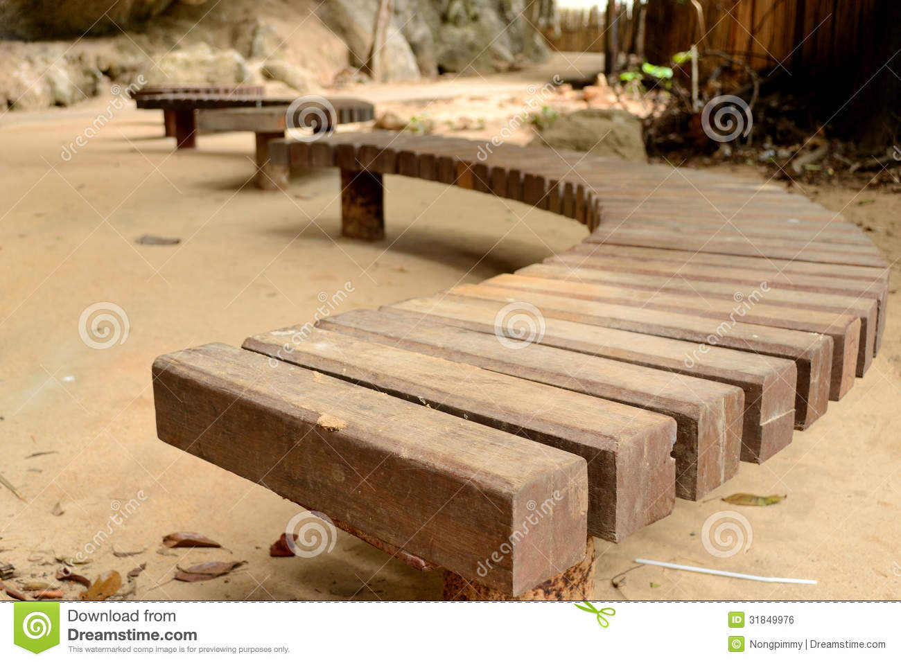 Curve Wooden Bench Stock Photo Image Of Furniture Relax