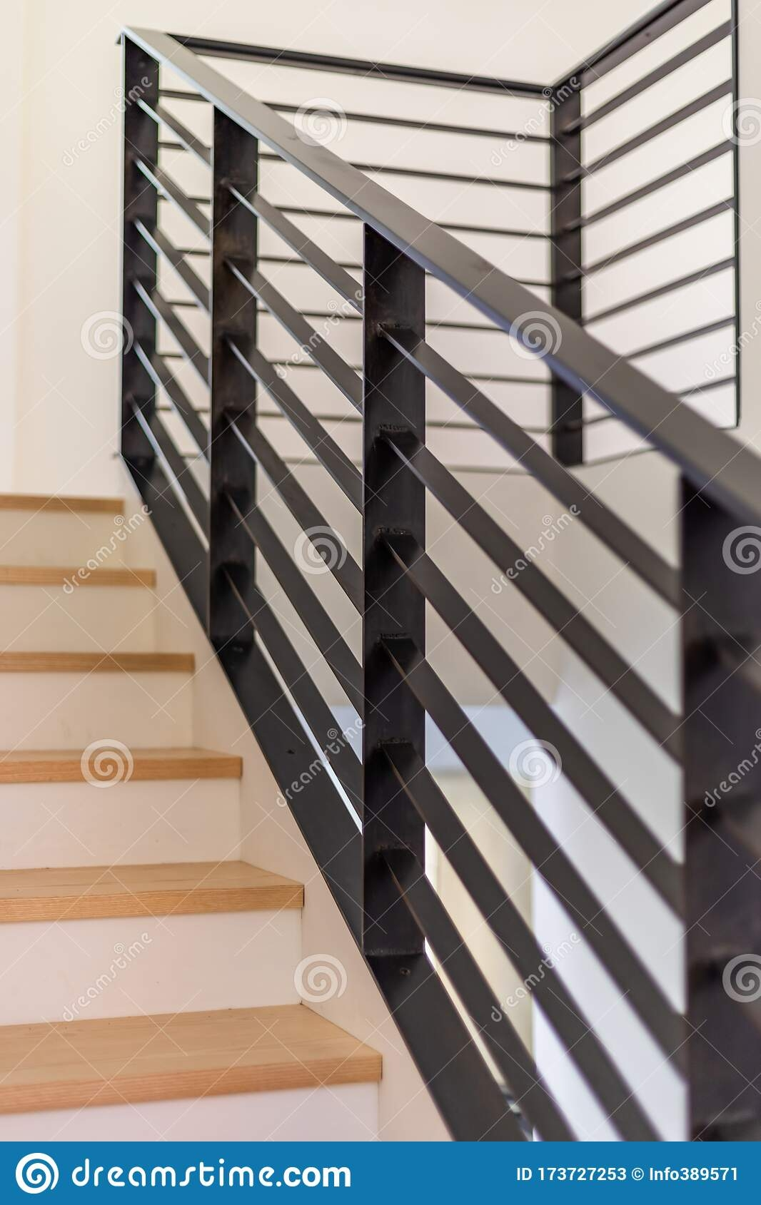 Custom Black Metal Stair Railing Stock Image Image Of Detail | White Wood Stair Railing | Entryway Stair | Metal | Outdoor Stair | Baluster Curved Stylish Overview Stair | Glass