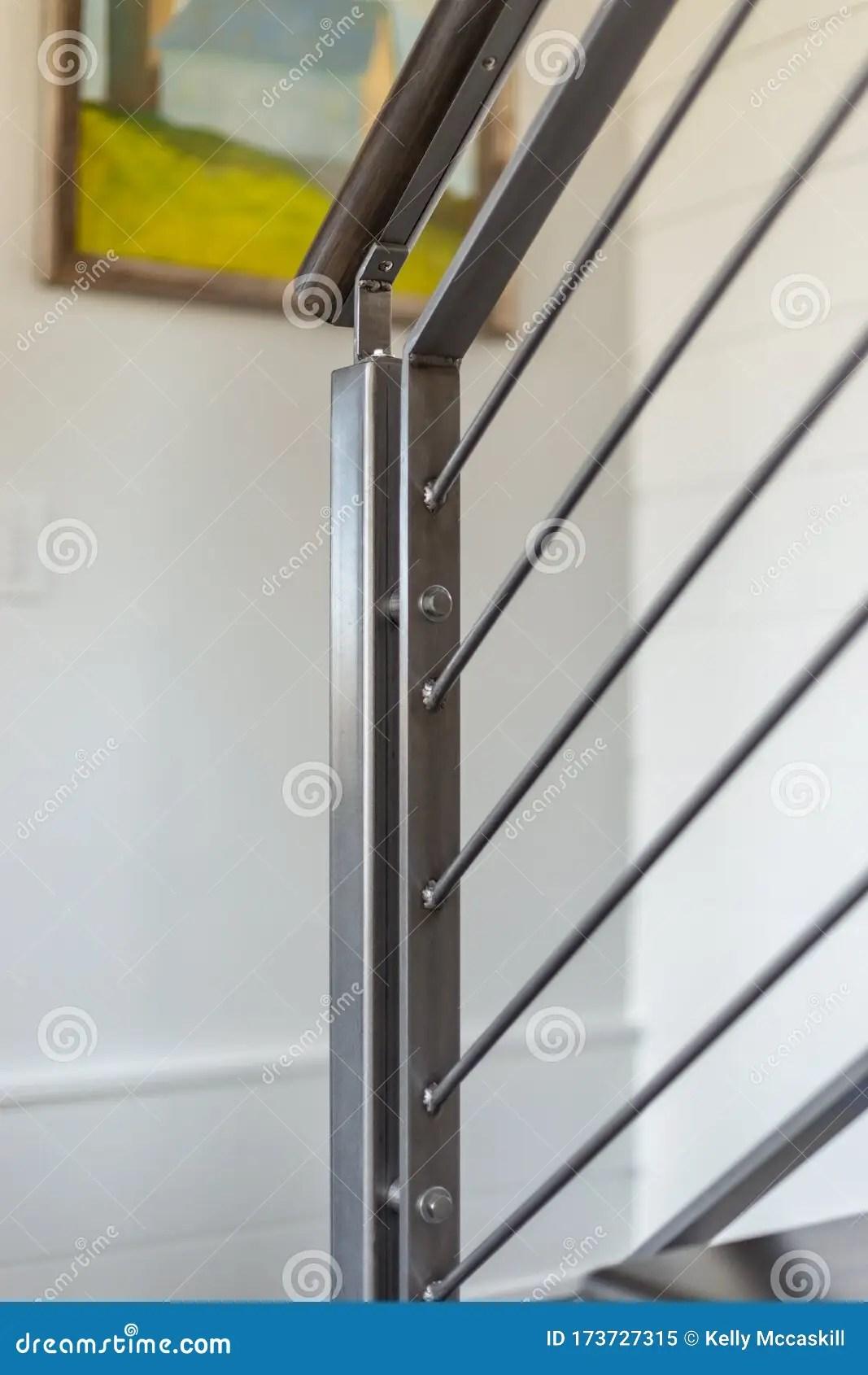 Custom Metal Stair Railing In White Interior Stock Image Image | Custom Iron Stair Railing | Indoor | Steel | Metal | Curved | Ornamental