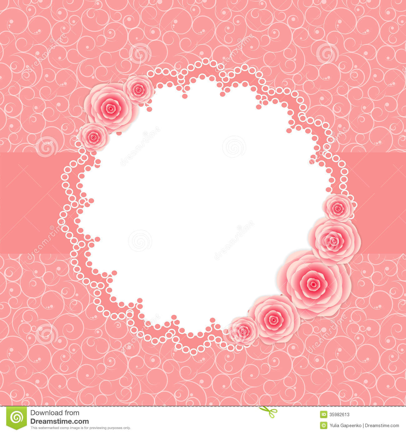 Cute Frame With Rose Flowers Vector Illustration Stock