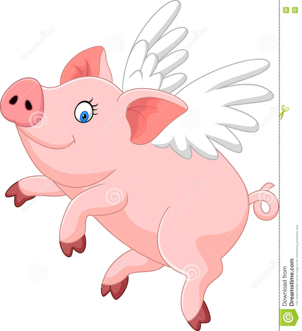 Cute Pigs Wings Cartoon