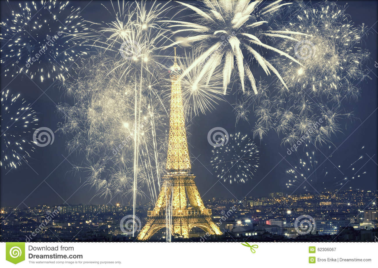 Eiffel Tower With Fireworks  New Year In Paris Editorial Photography     Download Eiffel Tower With Fireworks  New Year In Paris Editorial  Photography   Image of highest