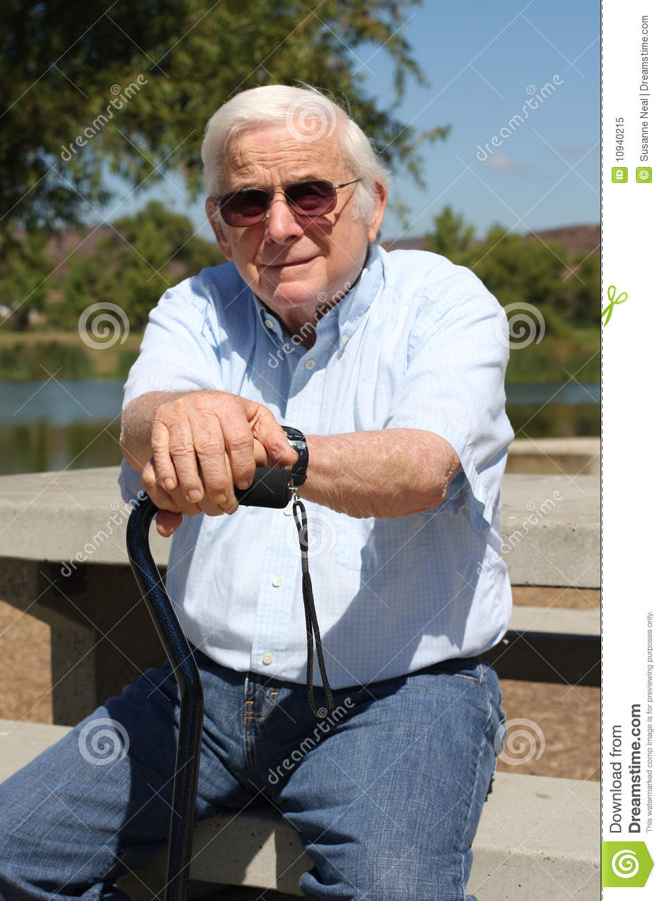 Elderly Man With Cane At Park Stock Image Image Of