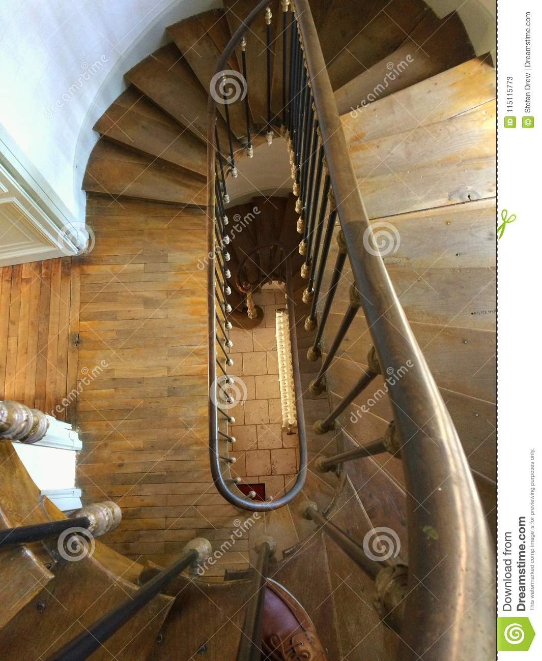 Elongated Spiral Staircase Stock Image Image Of Elongated 115115773 | Spiral Staircase Wooden Steps | Tiny House | Wrought Iron | Rustic | Creative | 2 Story