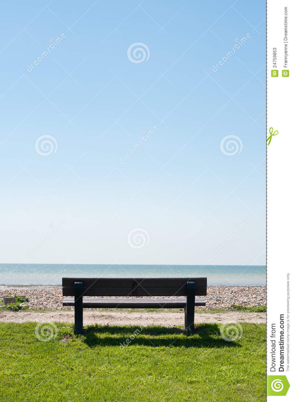 Empty Bench Facing Sea Stock Image Image Of Bright