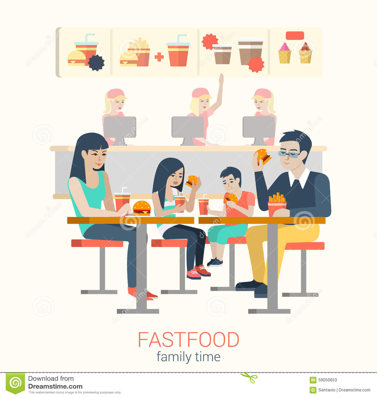 Cartoon Family Dinner Time