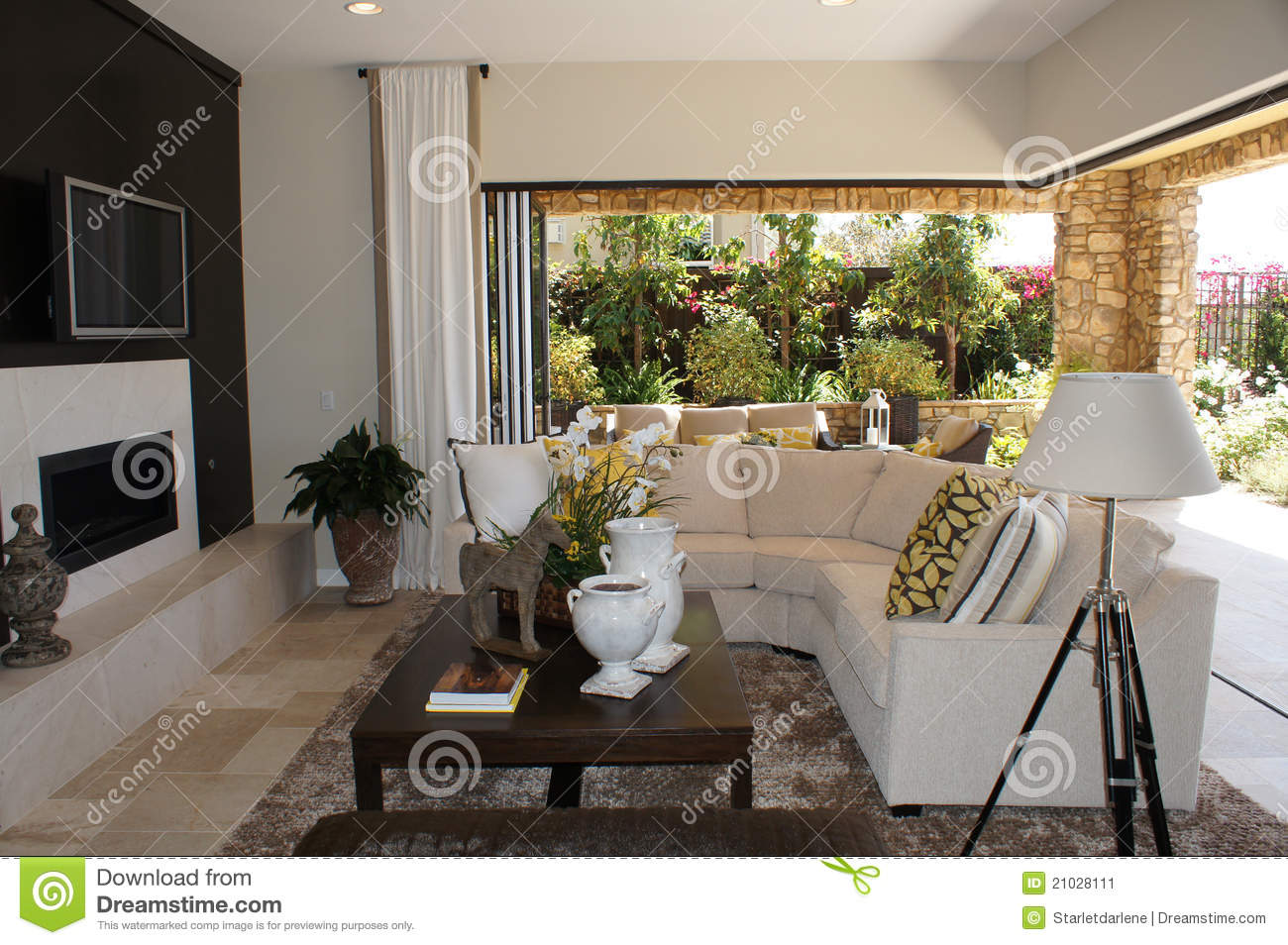 Yellow And White Living Room