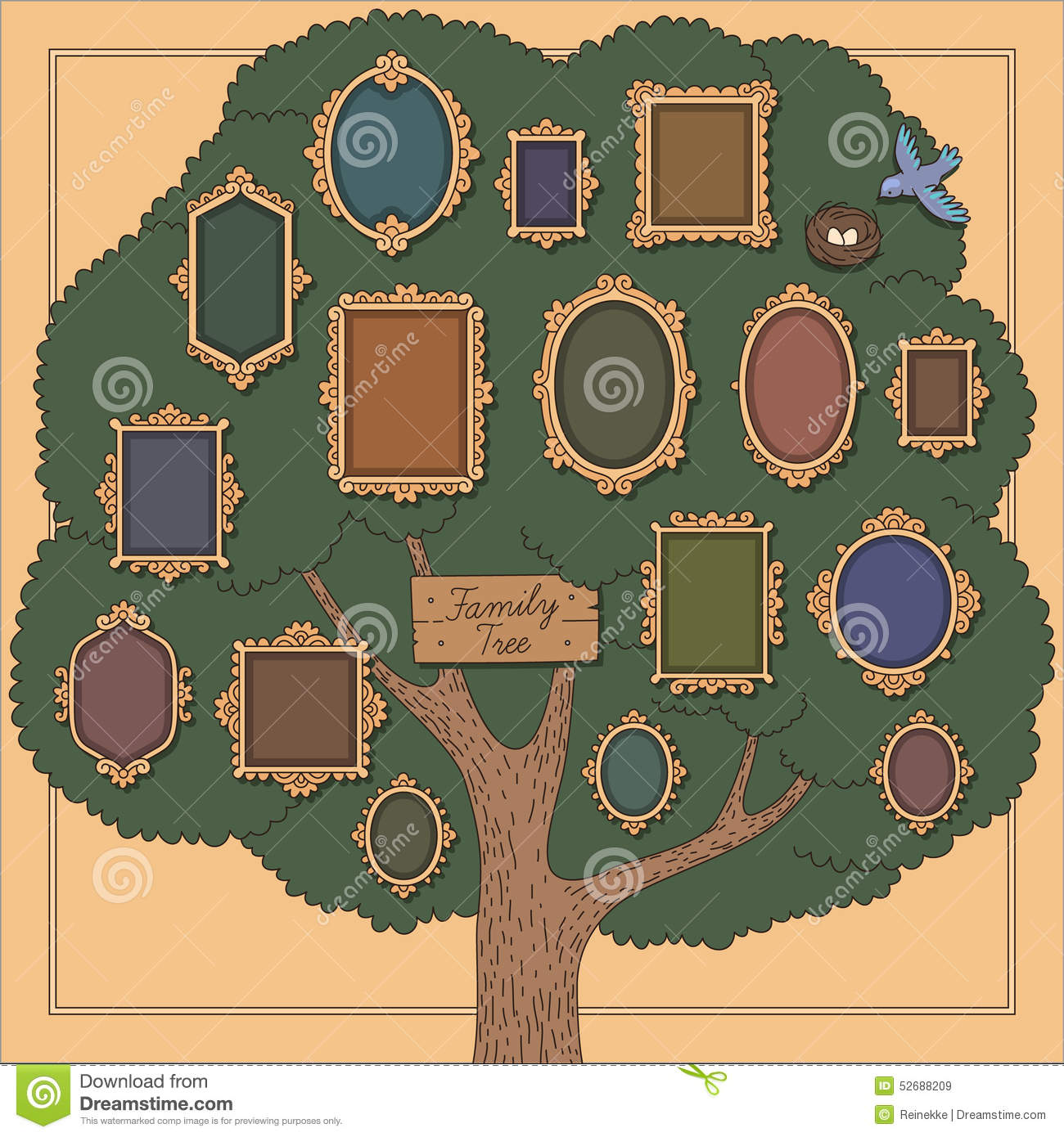 Family tree stock vector  Illustration of frame  decoration   52688209 Family tree
