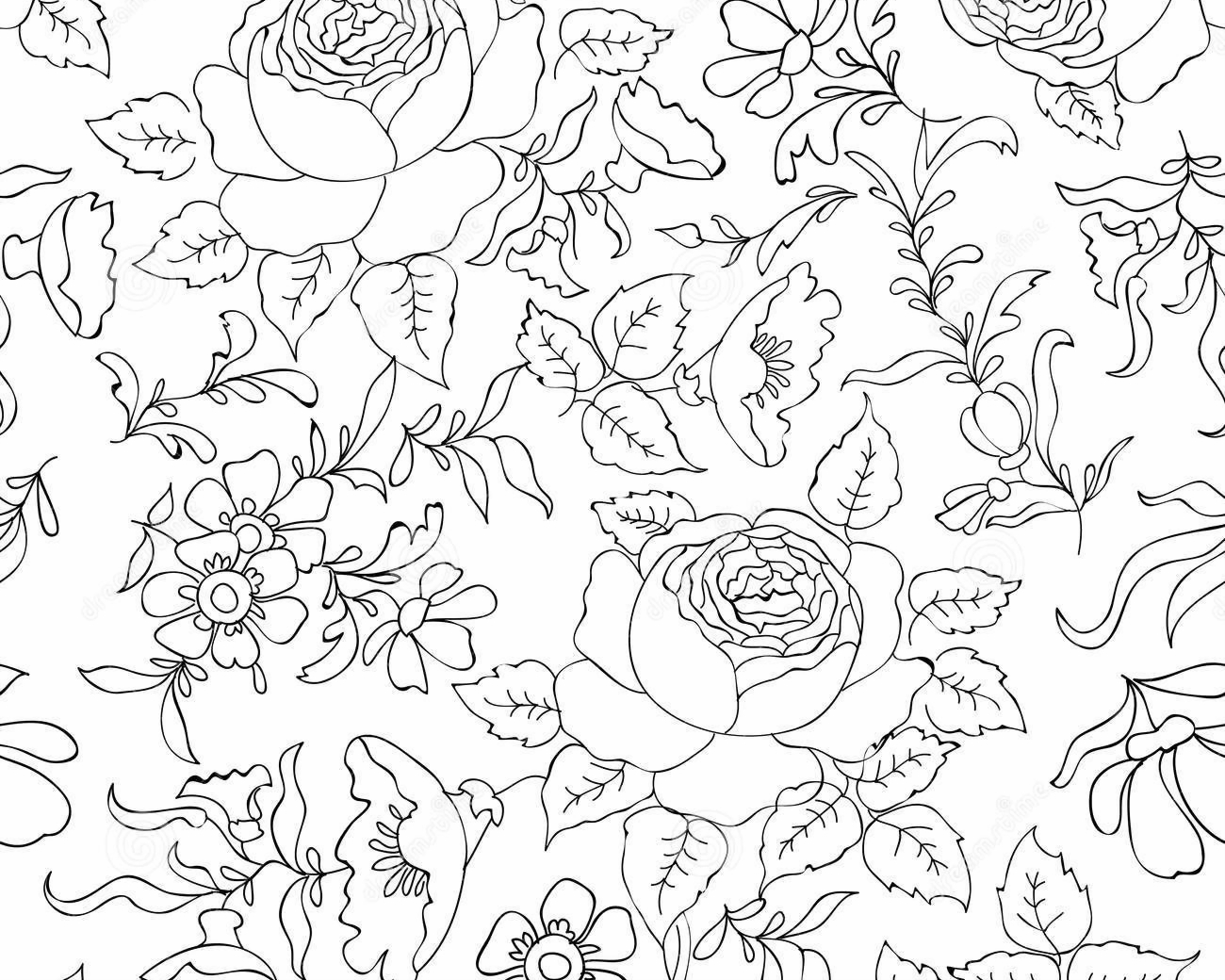 Floral Seamless Pattern. Flower Outline Background. Stock ...