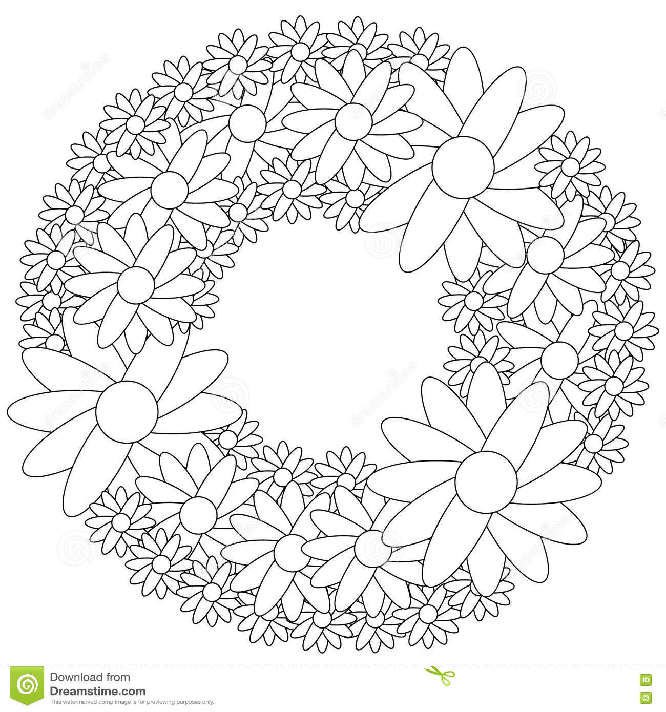 Floral Wreath Coloring Page Stock Vector Illustration Of Cute
