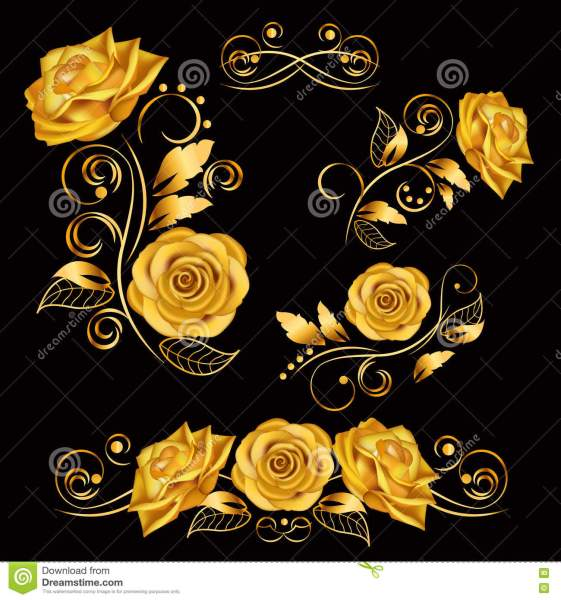Flowers vector Illustration With Gold Roses  Decorative  Ornate     Flowers vector Illustration With Gold Roses  Decorative  Ornate  Antique   Luxury  Floral Elements On Black Background Illustration 78472252   Megapixl