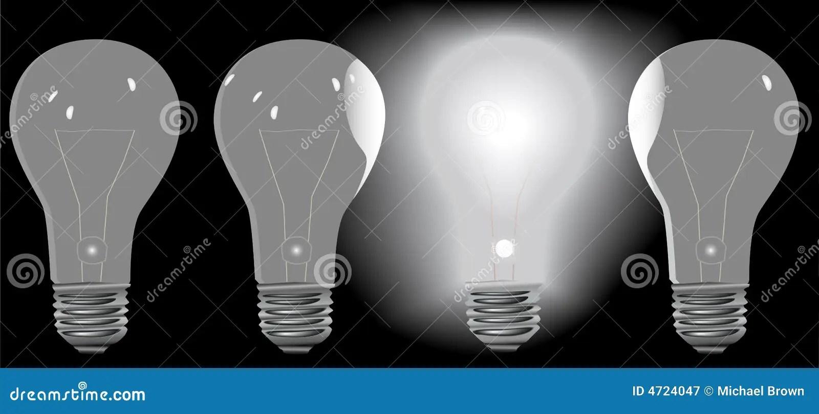 Four Light Bulbs In A Row 3 Off 1 On Stock Vector
