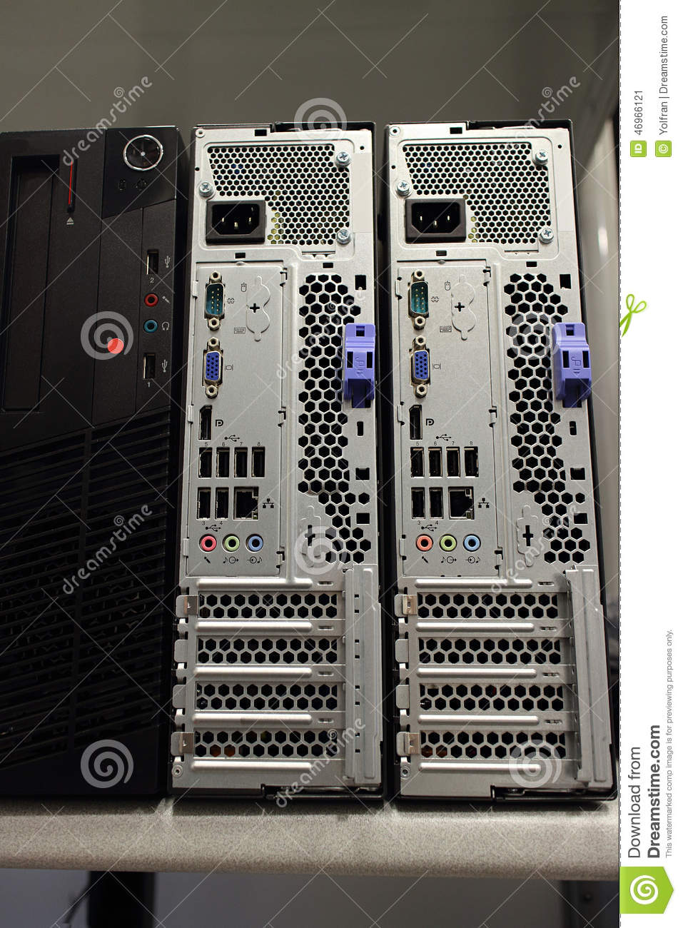 Front And Back Of Desktop Computers Stock Image Image Of