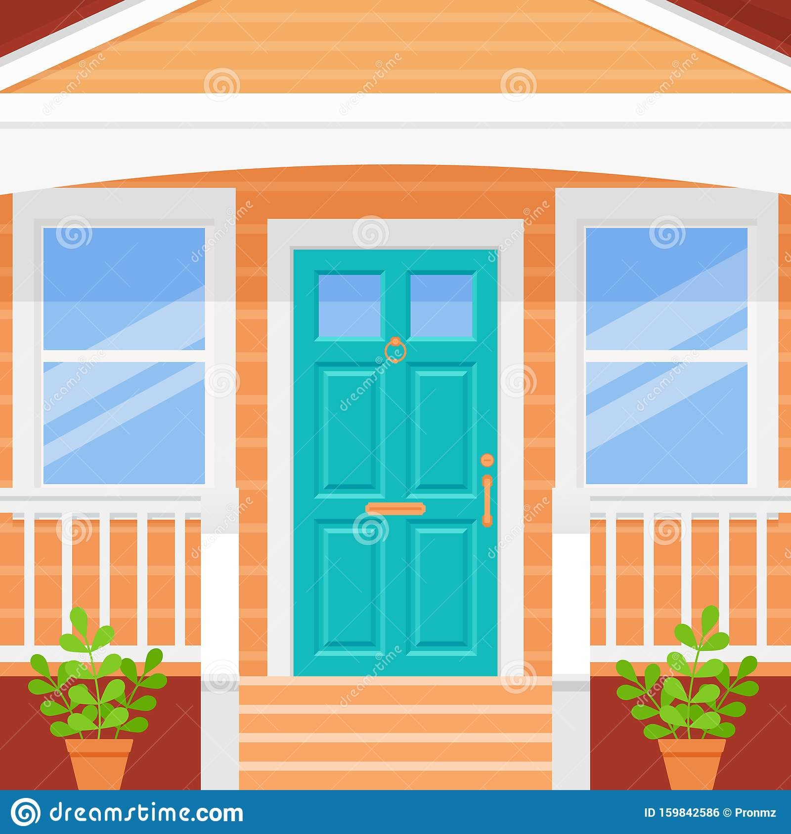 Front Door Porch House Vector Illustration In Flat Design Stock | Home Front Stairs Design | Outside Stair | Double Floor | Building | Balcony | Beautiful