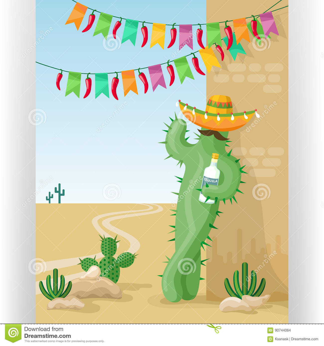 Funny Greeting Card Template Cactus Sombrero Tequila Colorful Flags Red Chili Peppers Desert Mexican Landscape Jpg