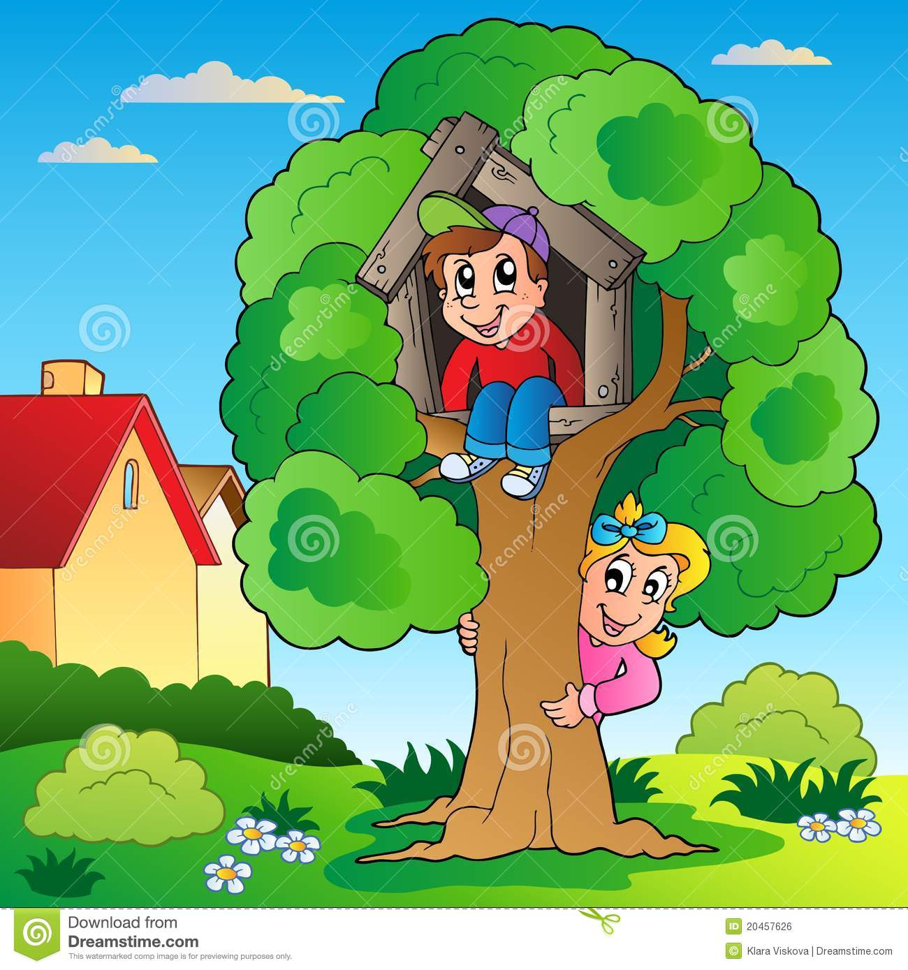 Garden With Two Kids And Tree Stock Vector - Illustration ...
