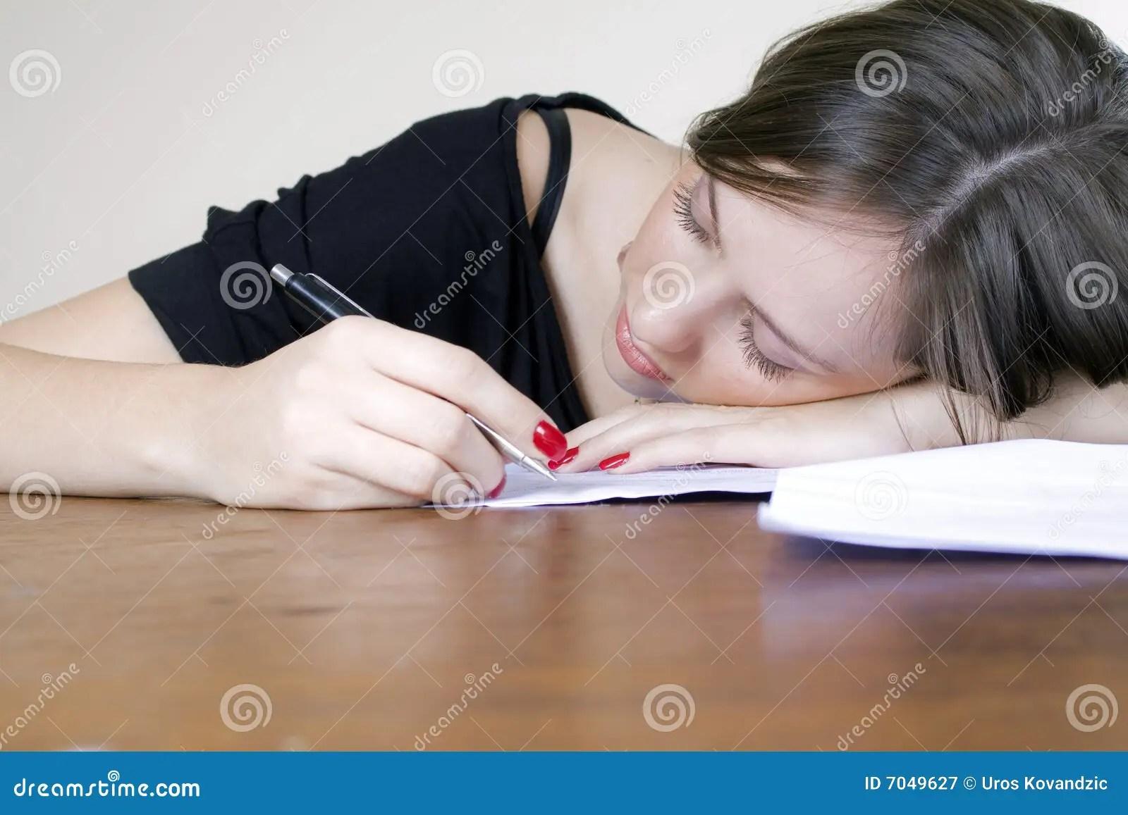 Sleeping Desk Girl Computer