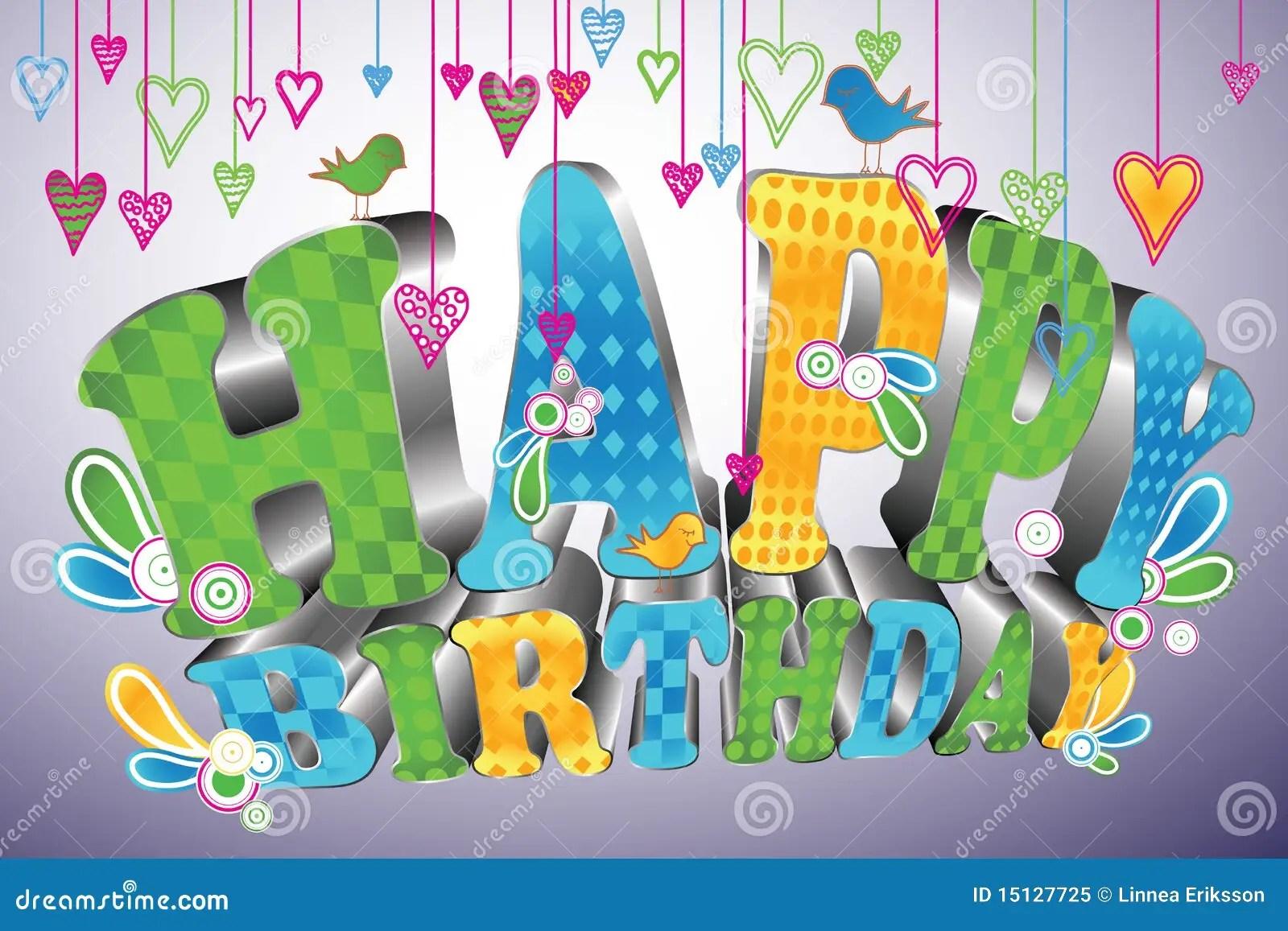 Glossy 3d Type Happy Birthday Stock Vector Illustration