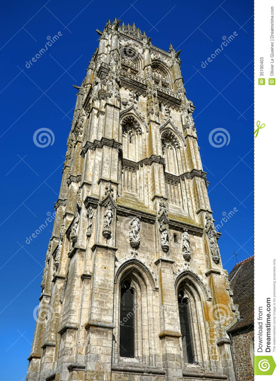 Gothic Church Stone Tower Steeple Over Blue Sky Stock
