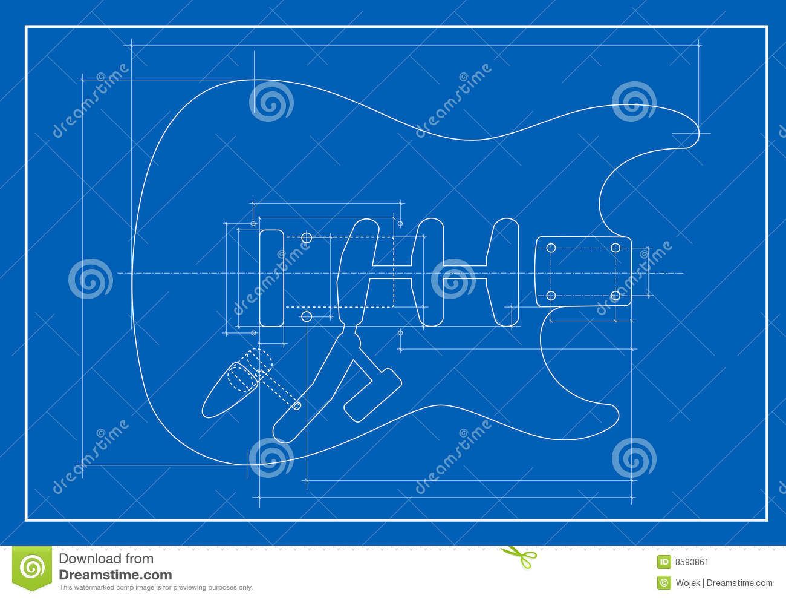 Guitar Blueprint Stock Image Image 8593861