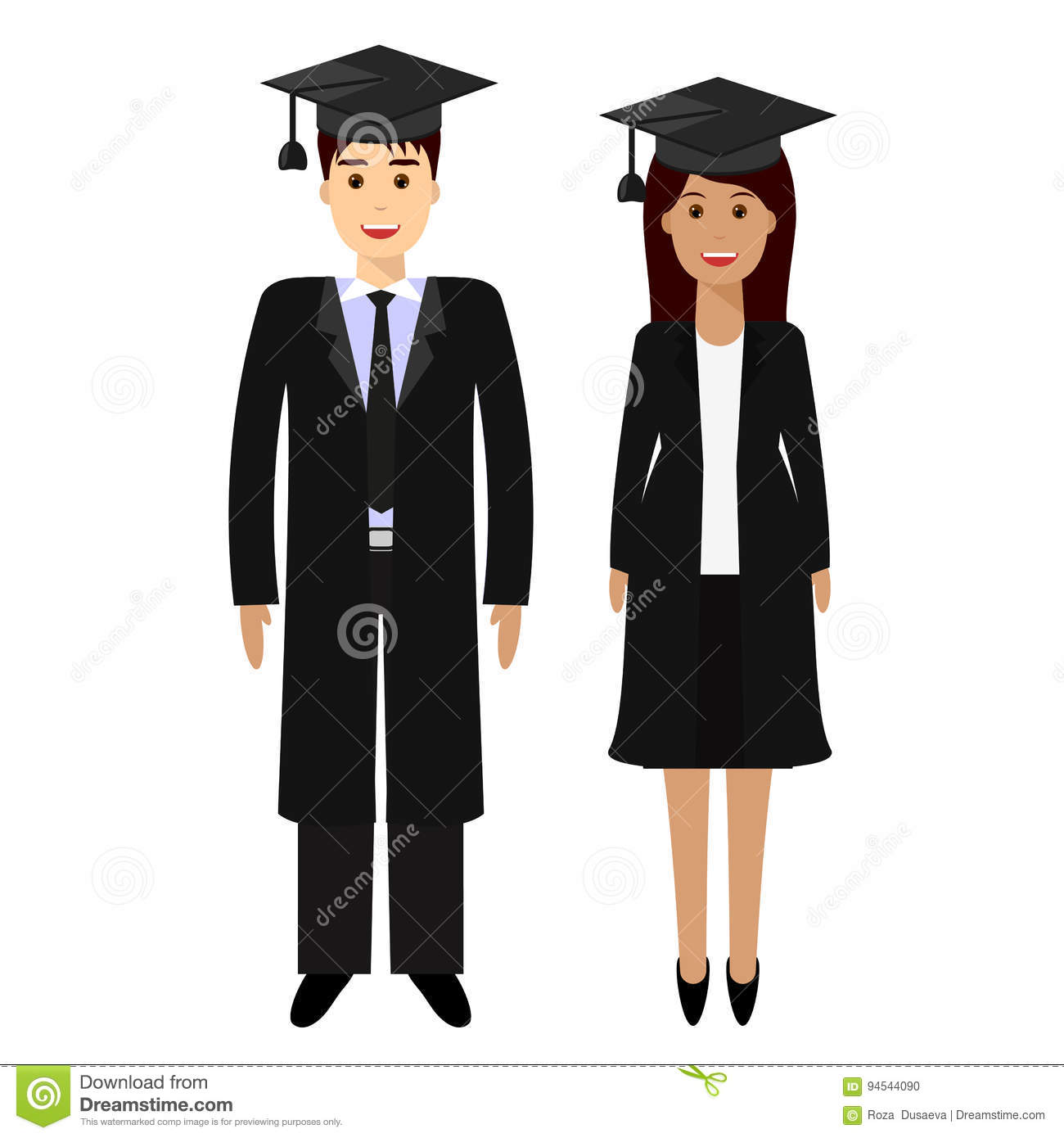 Graduation Cap And Gown Cartoon