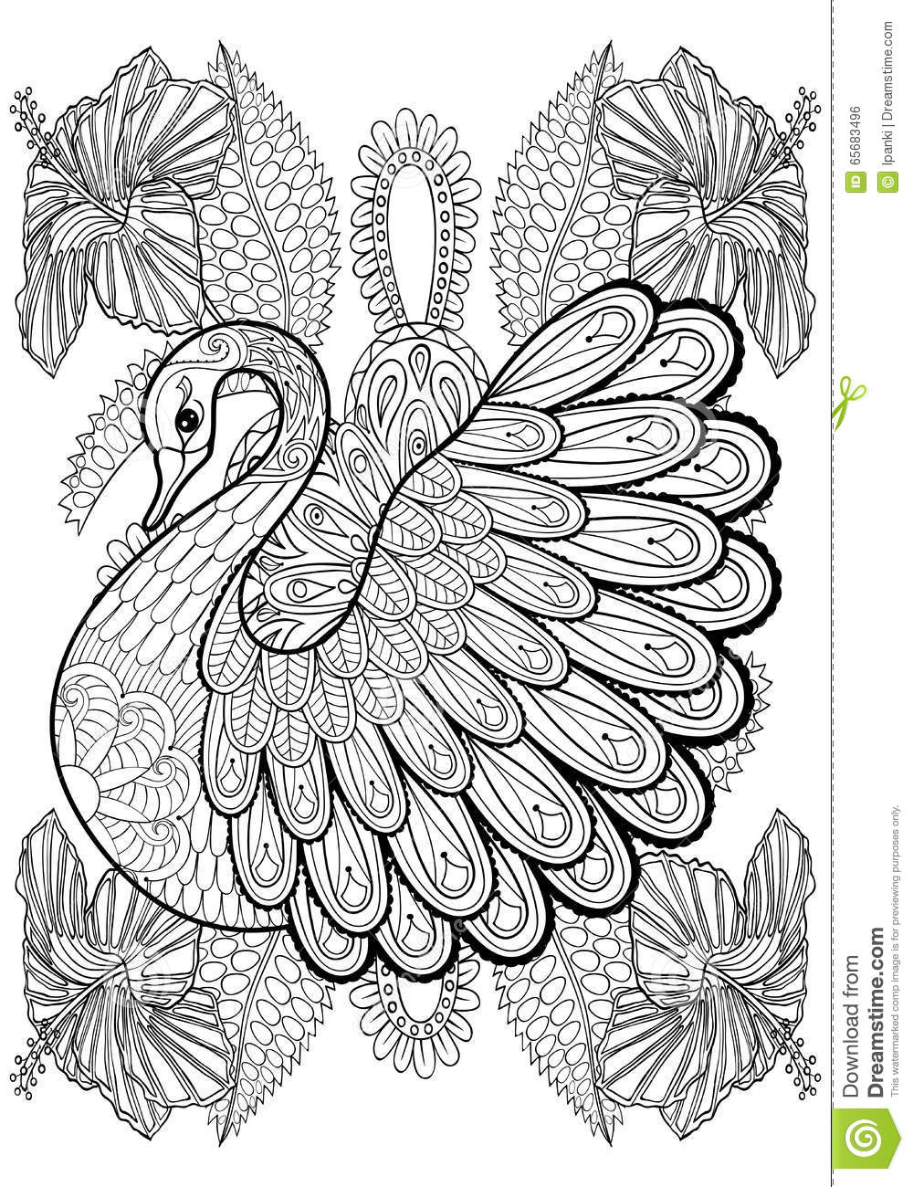 Hand Drawing Artistic Swan In Flowers For Adult Coloring Pages