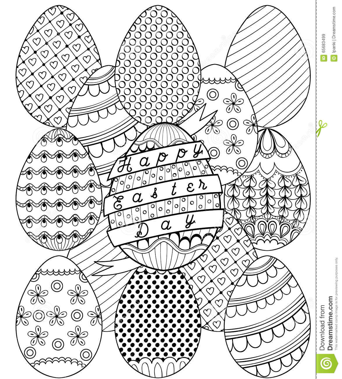 Hand Drawn Artistic Easter Eggs Pattern For Adult Coloring Page