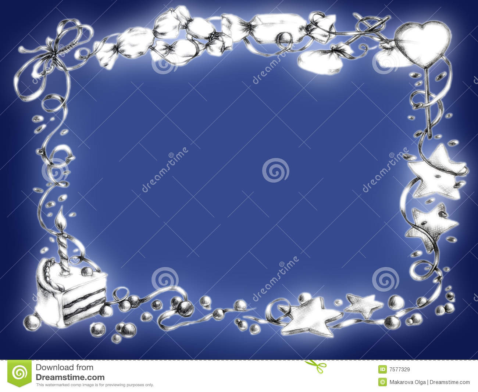 Happy Birthday Frame Blue Stock Illustration Image