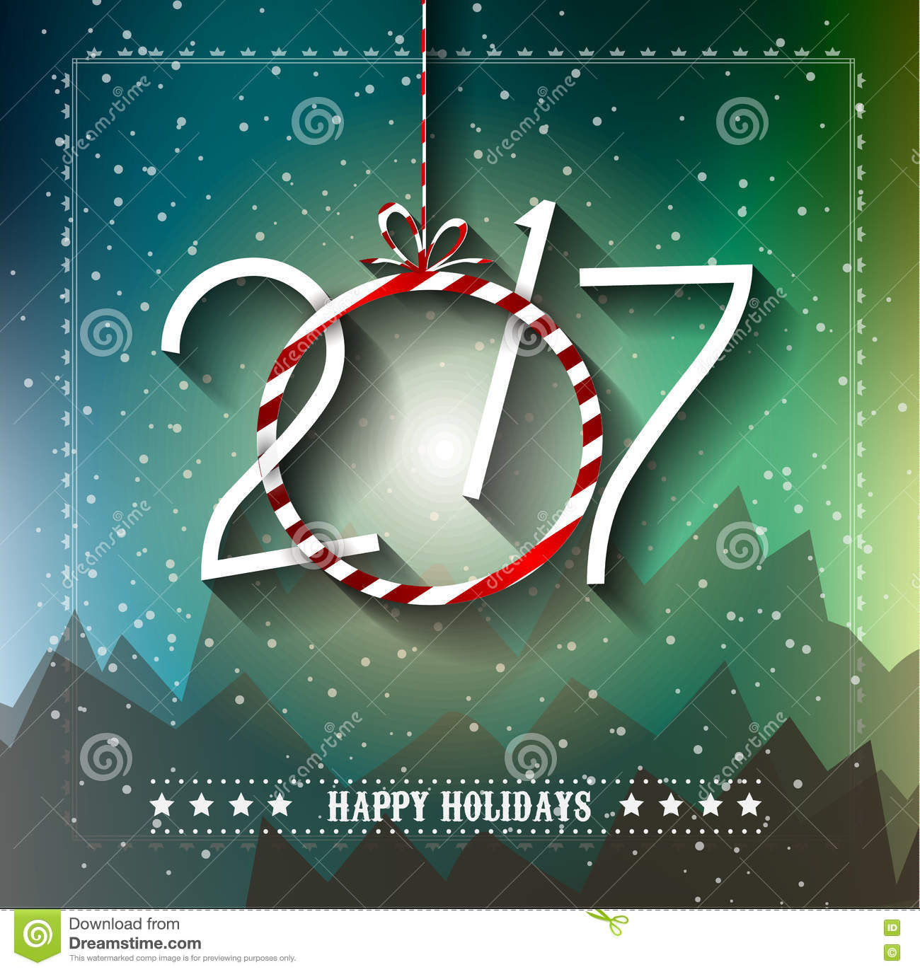 New Happy 2017 Merry Year Greetings Christmas And
