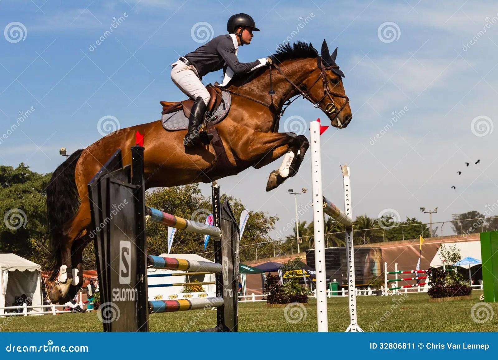 Horse Rider Gate Jump Flight Color Editorial Photo Image