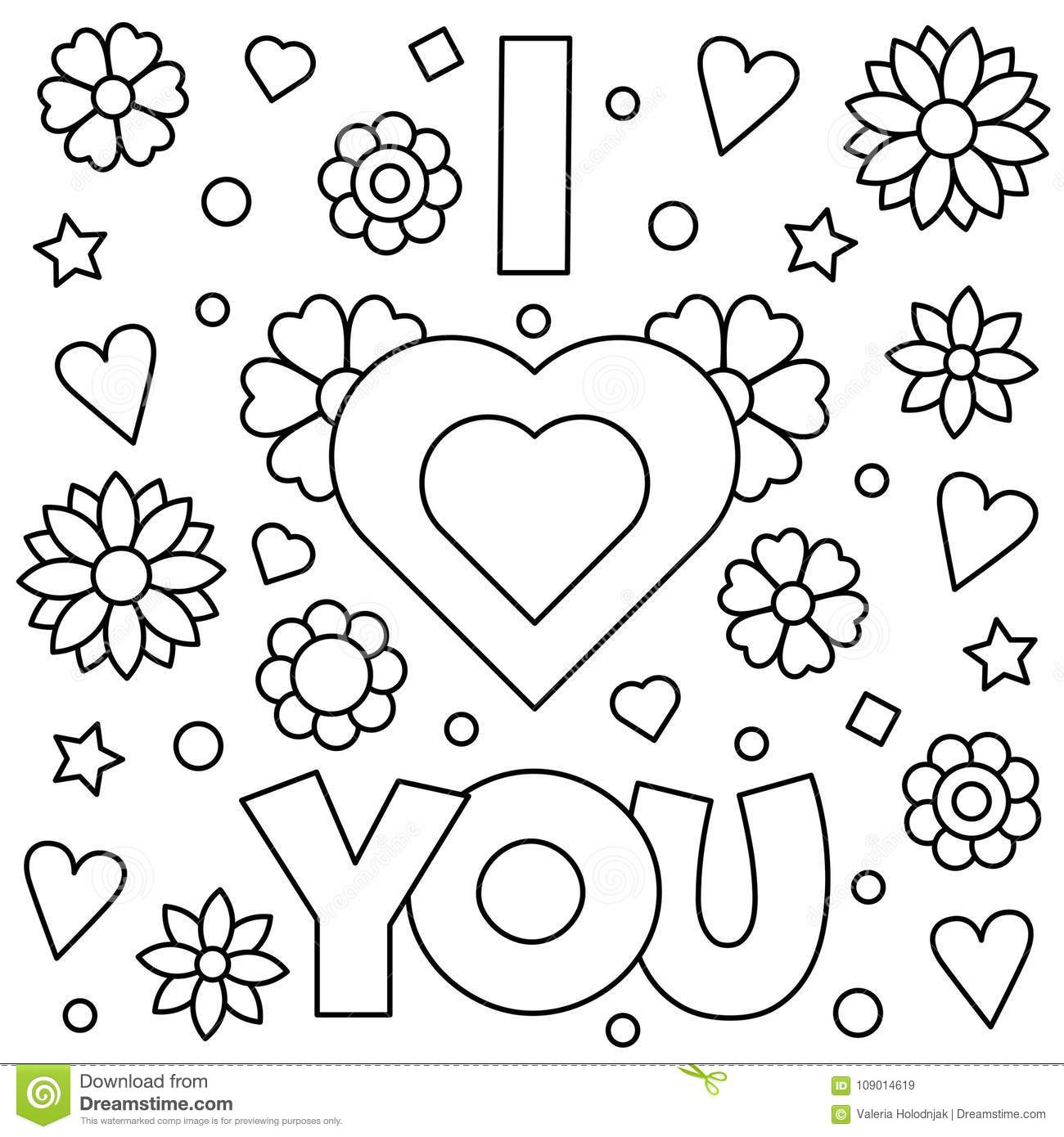 I love you coloring page vector illustration stock, love you coloring pages