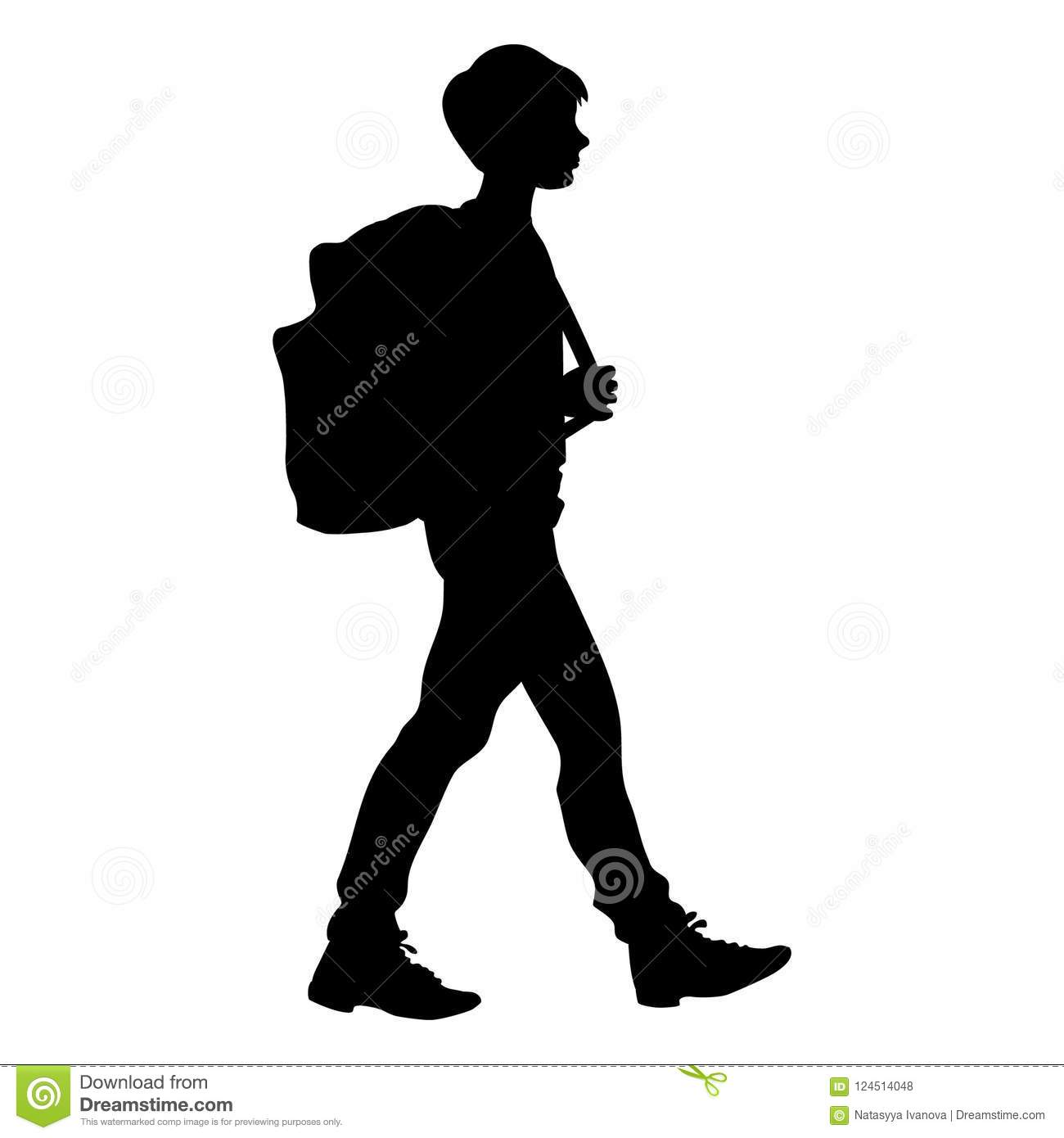 Girl And Boy Walking With Backpacks On Stock Illustration