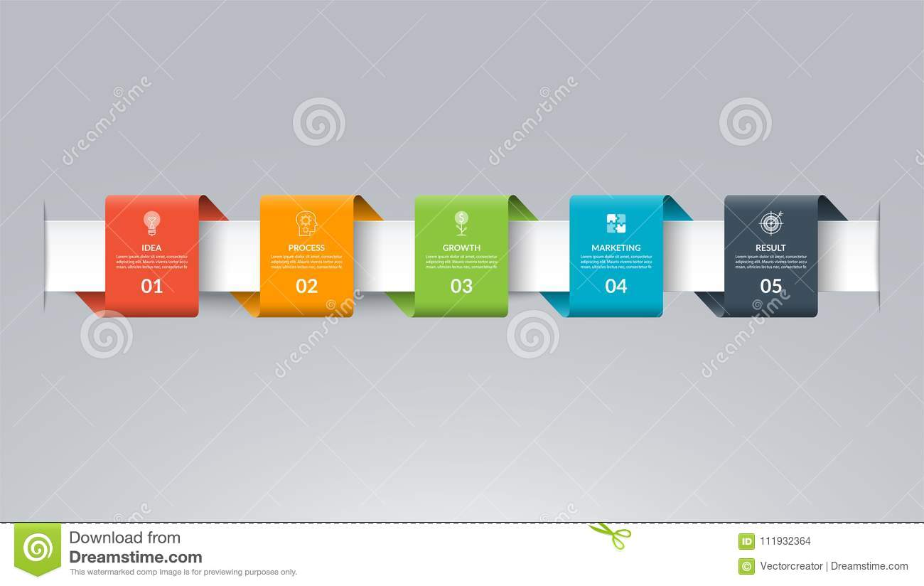 Infographic Timeline Template In The Form Of Colored Paper Tapes     Download Infographic Timeline Template In The Form Of Colored Paper Tapes   Vector Banner With 5