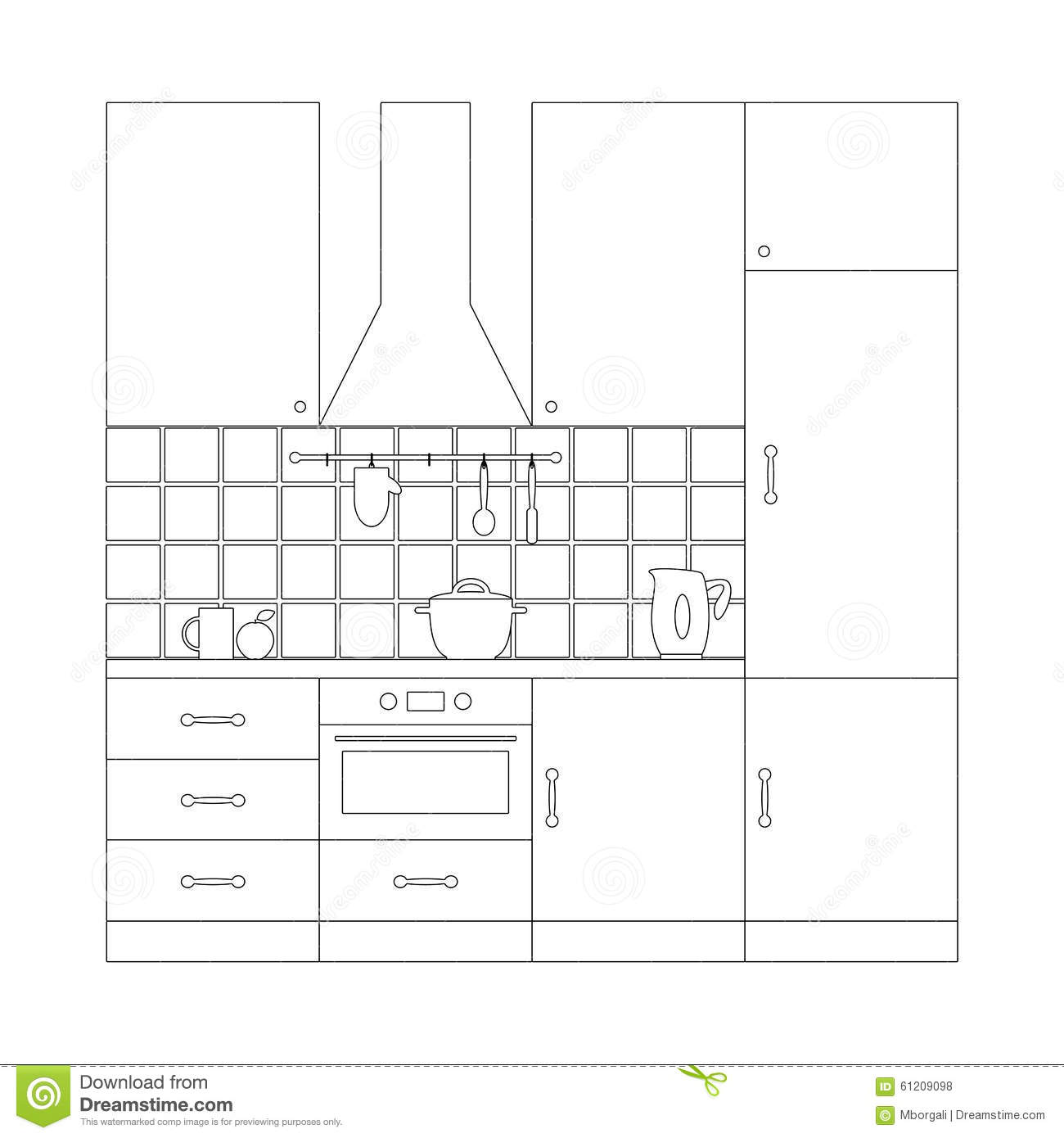 Kitchen Set Coloring Page Template Stock Vector Image 61209098