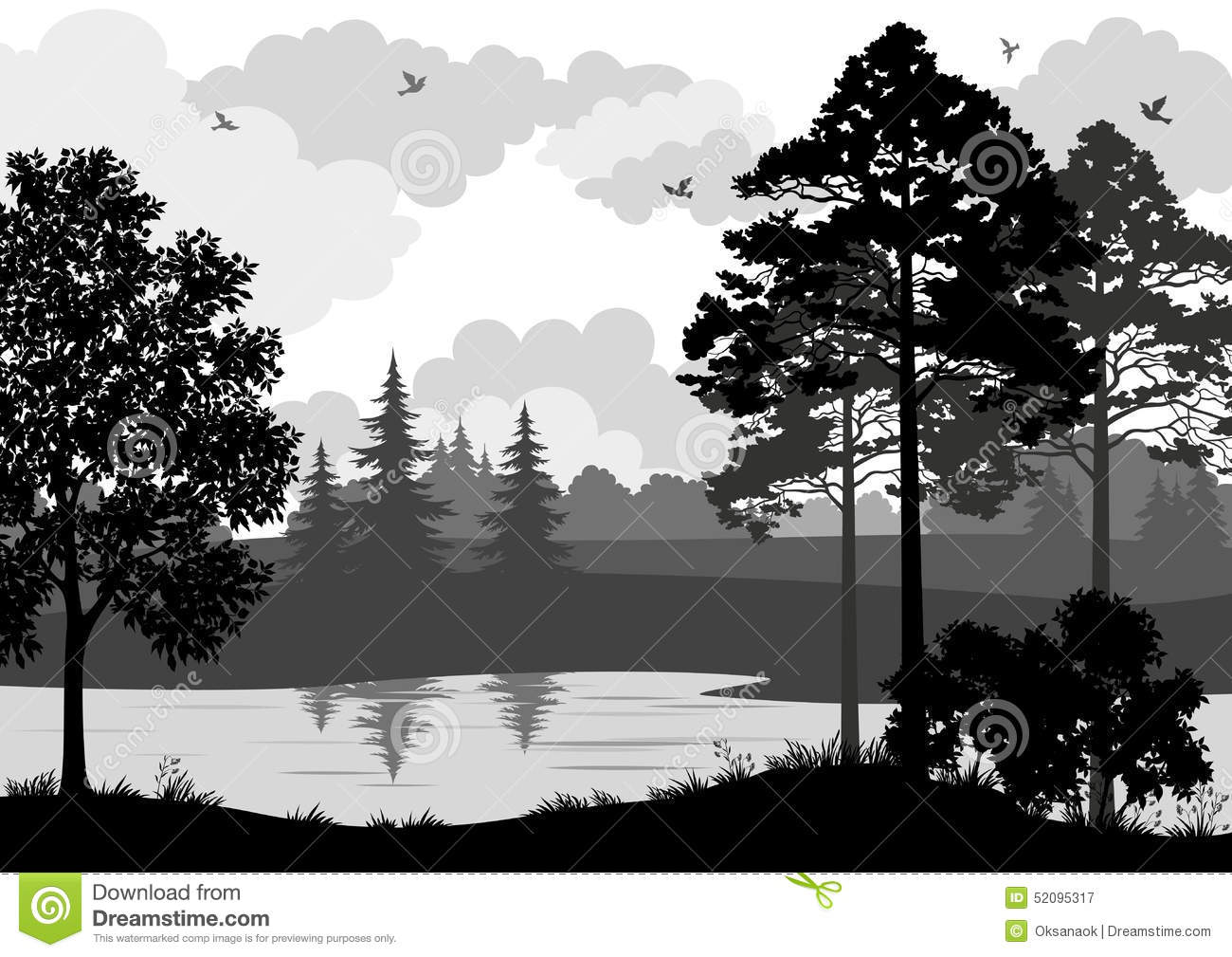 Landscape, Trees, River And Birds Silhouette Stock Vector ...