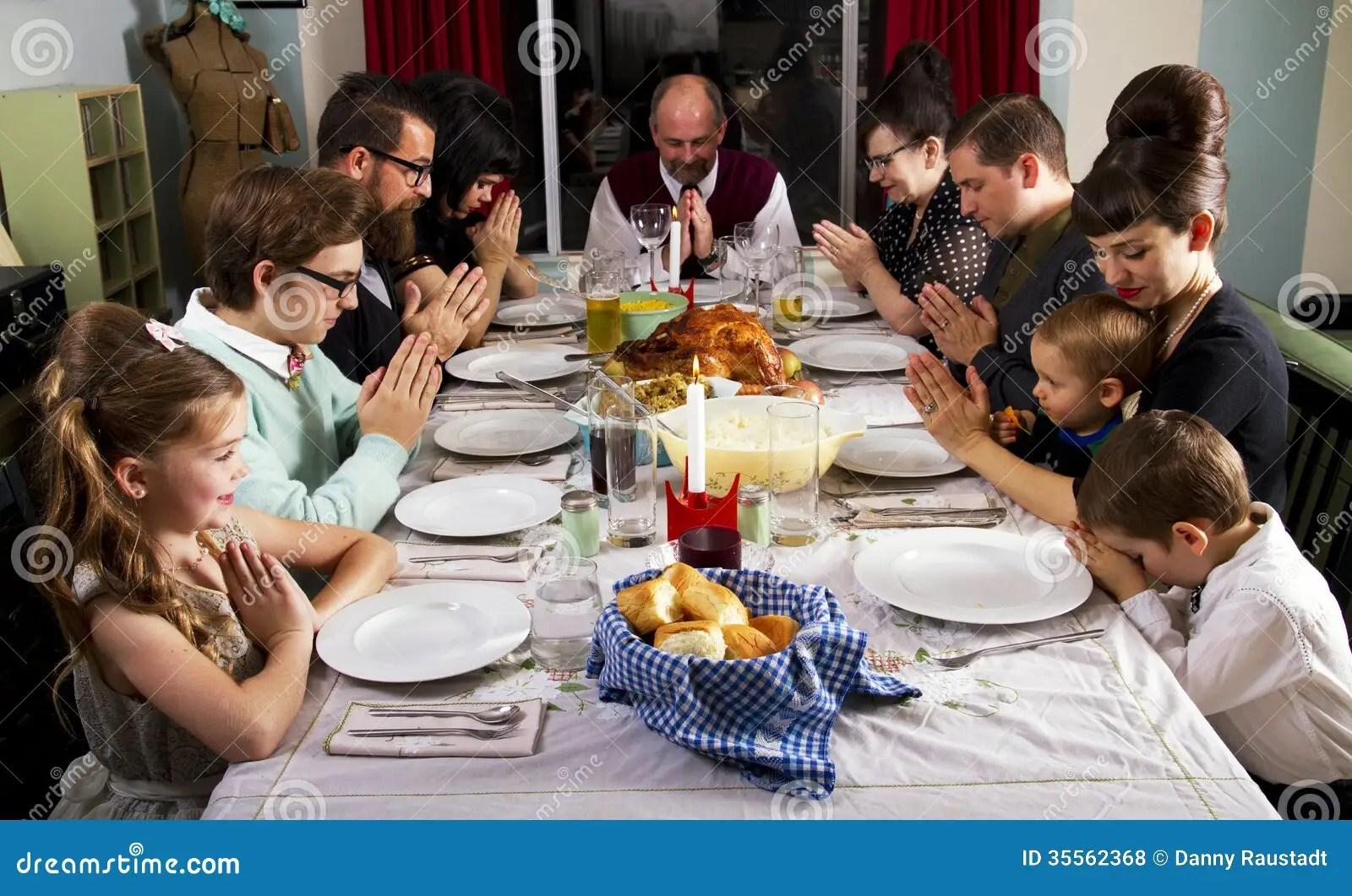 Family Thanksgiving Dinner Turkey Prayer Stock Photo ...