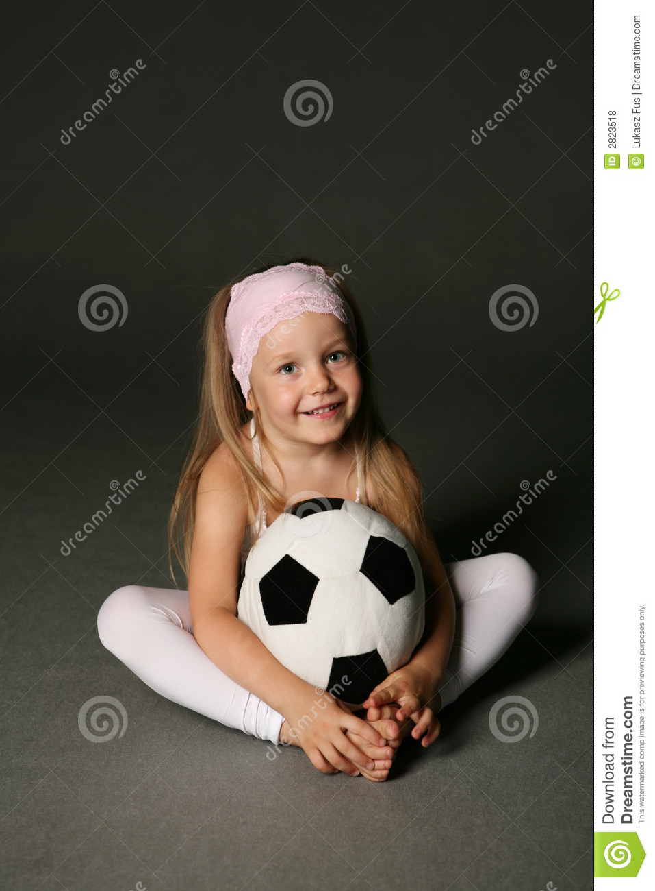 Little Girl With Soccer Ball Stock Photo Image Of