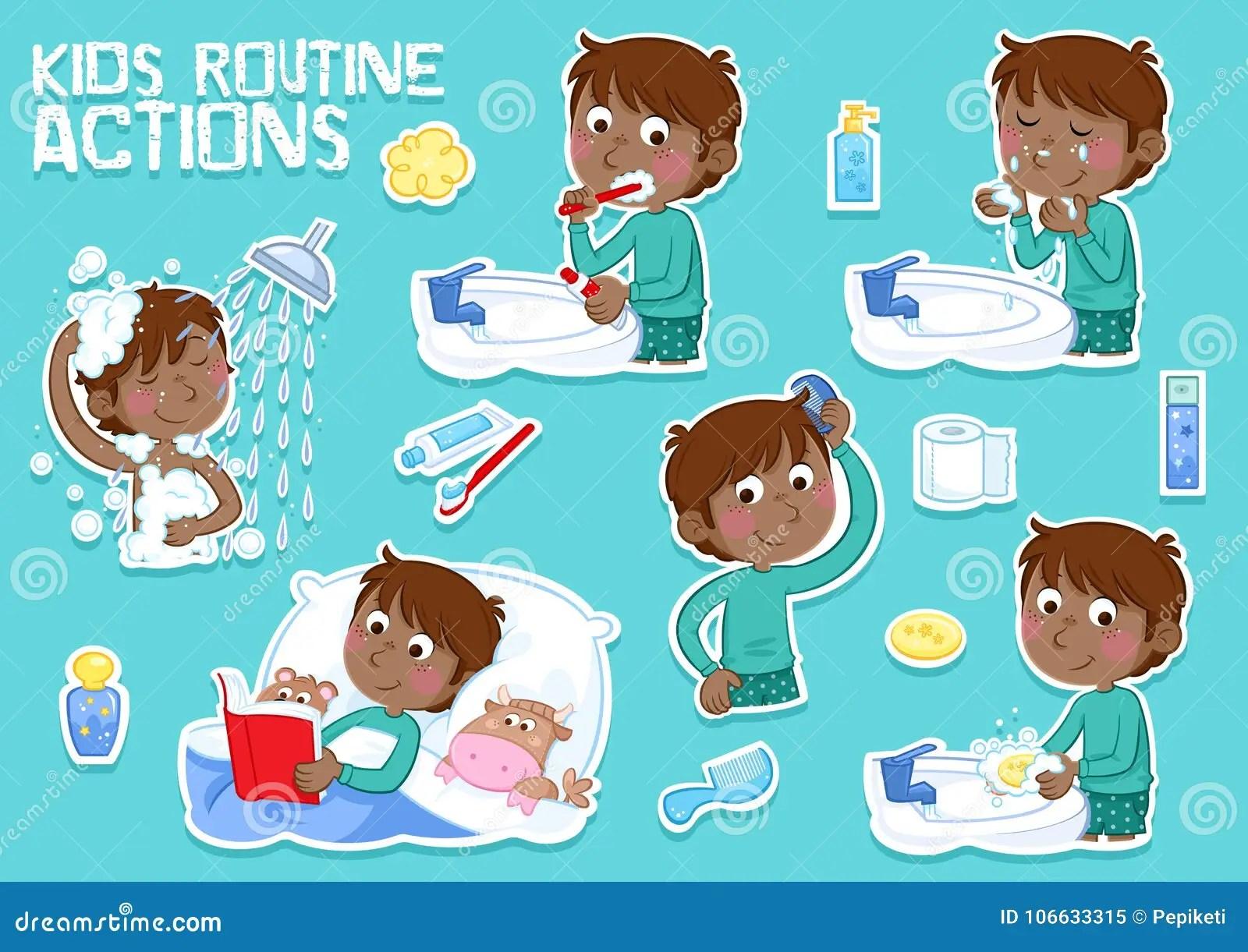 Washing Face Cartoon Character