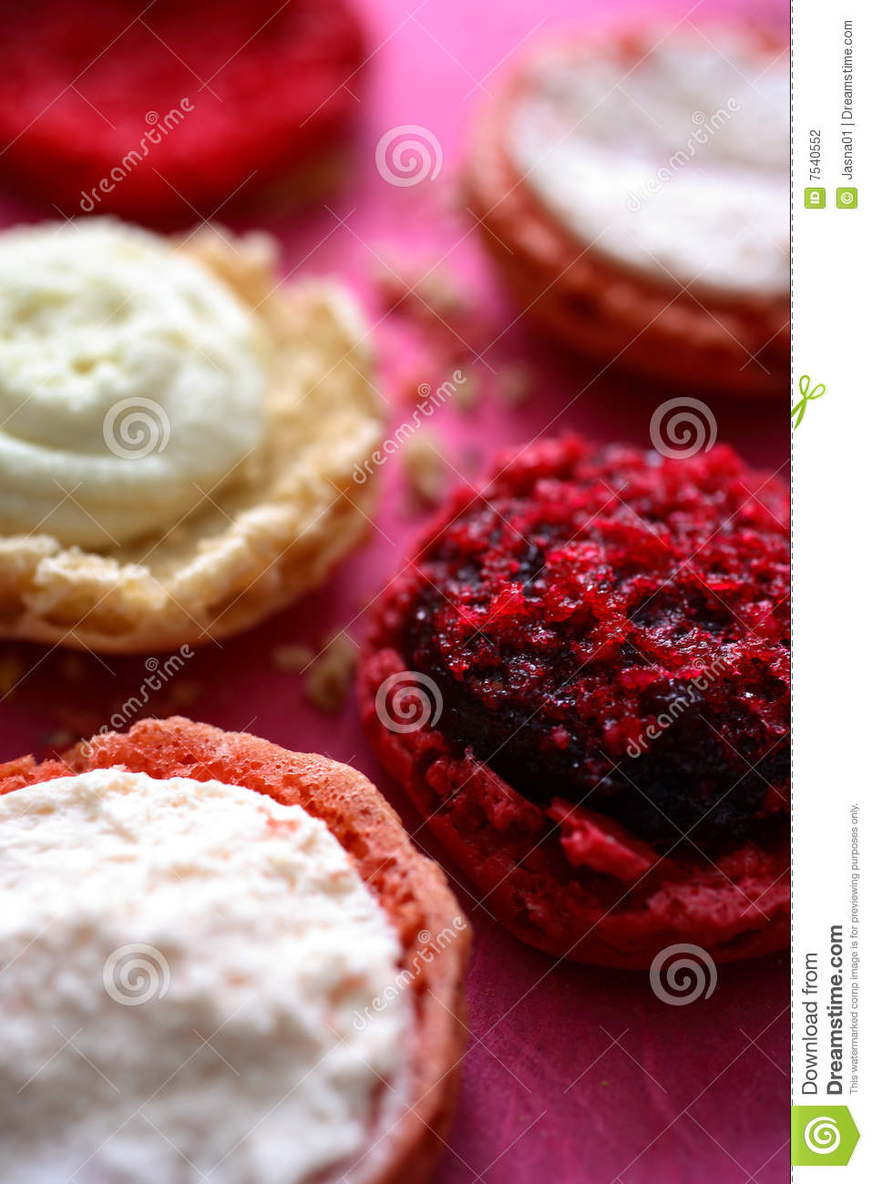 Macaroon Filling On Round Pastry Stock Photo - Image of ...