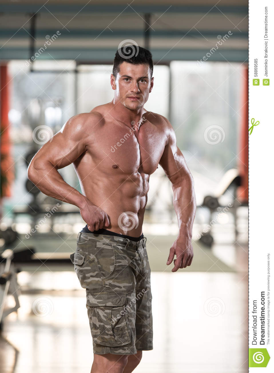 Man In Gym Showing His Well Trained Body Stock Image ...