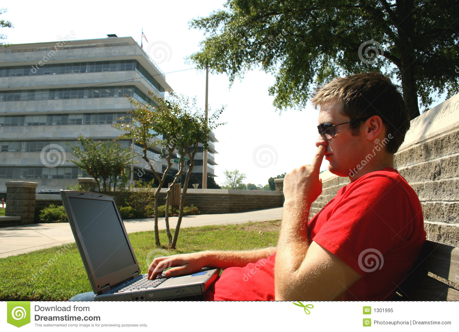 Man Picking His Nose Stock Image Image Of Outside Laptop