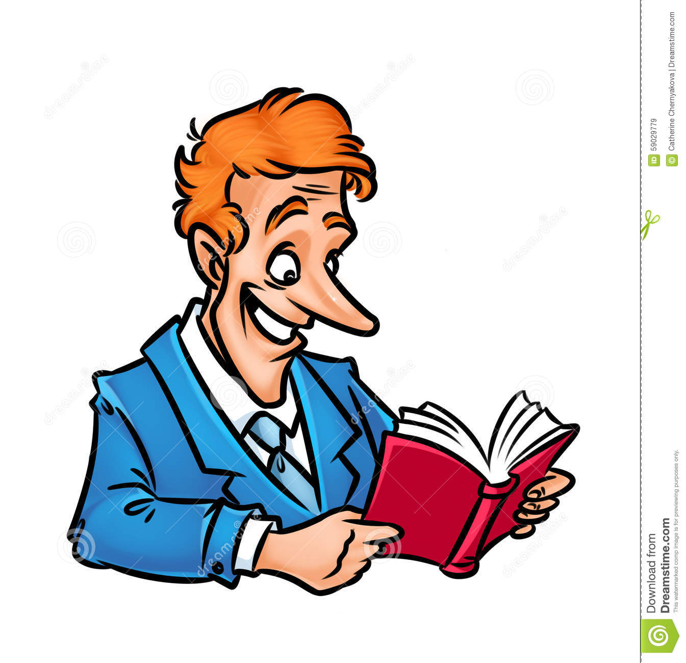 Cartoon Businessman Reading