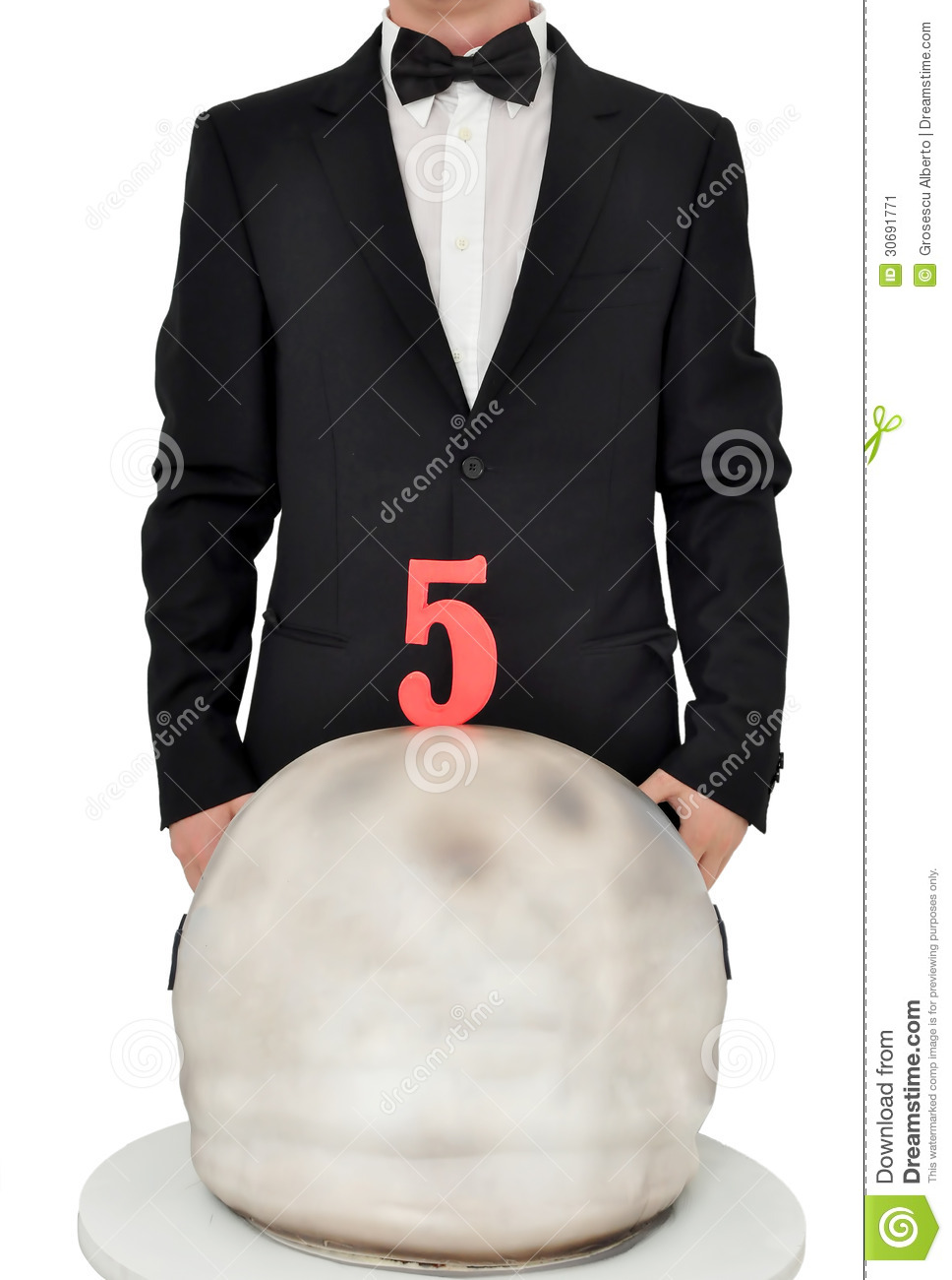 Man In Tuxedo With A Birthday Cake Stock Image Image