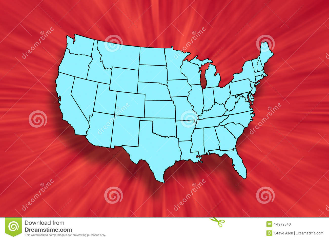 Map of US Mainland States stock illustration  Illustration of maps     A map of the States of the mainland United States of America