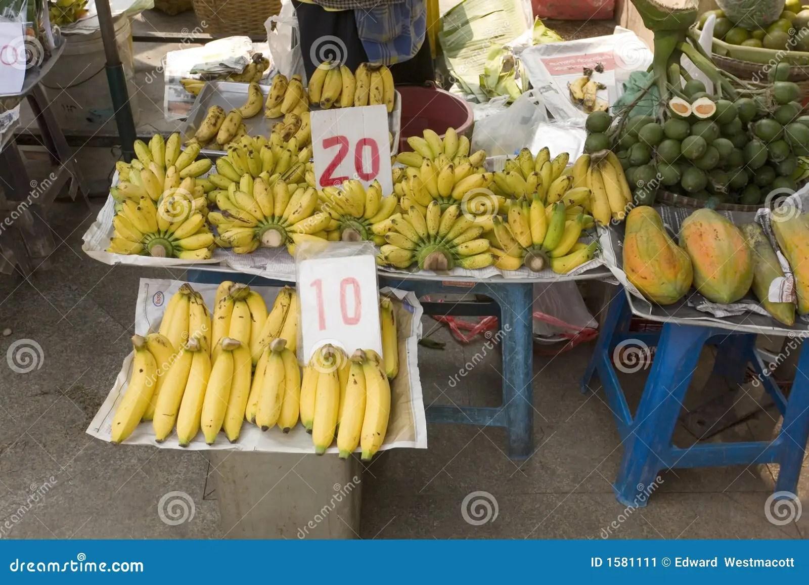 Market Stall Selling Bananas Stock Image Image Of Food