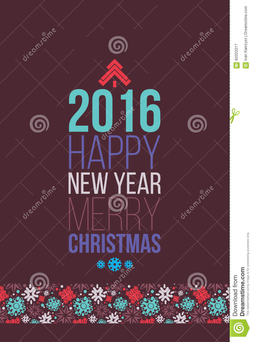Merry Christmas And Happy New Year 2016 Poster Stock Vector     Merry Christmas and Happy New Year 2016 Poster