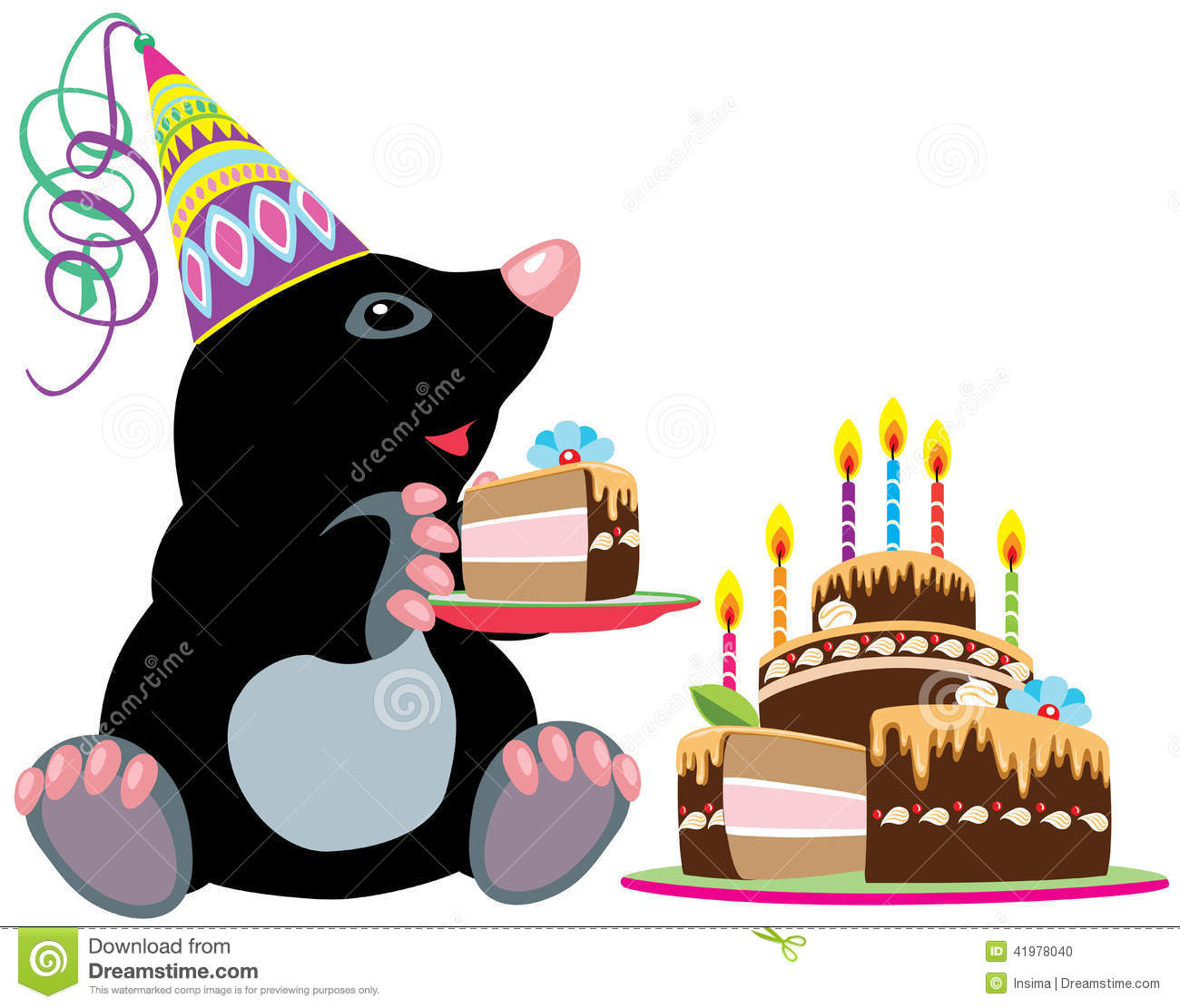 Mole Holding A Piece Of Cake Stock Vector Illustration