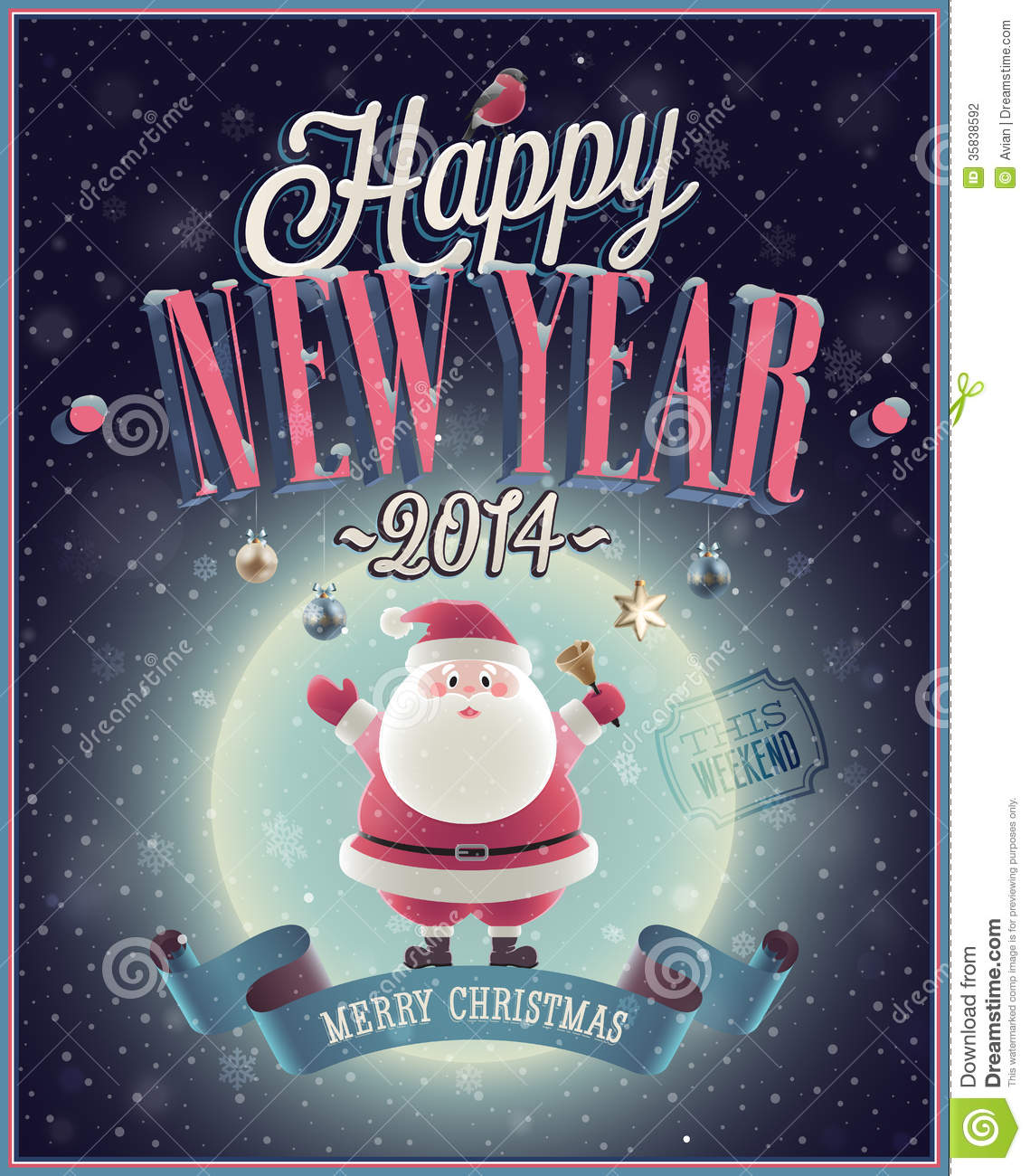 New Year Poster With Santa  Stock Vector   Illustration of     Download New Year Poster With Santa  Stock Vector   Illustration of  illustration  happy