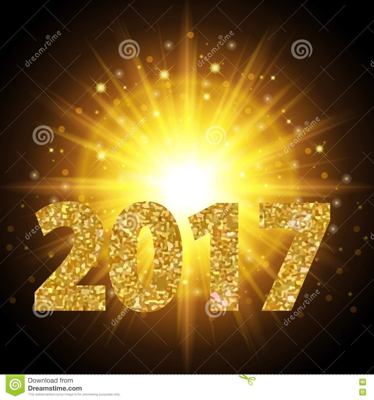 New Year 2017 Text Gold Color  Bright Light  Background Realistic     Download comp