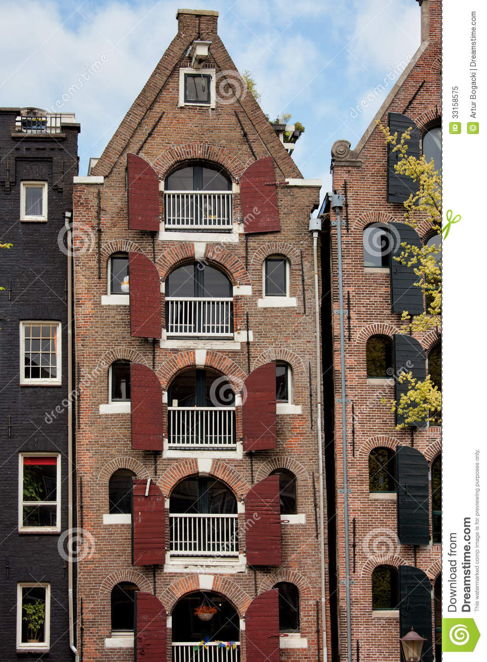 Old Apartment Building In Amsterdam Royalty Free Stock